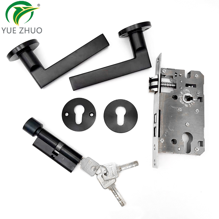Simple Design handle lock set  Aluminum alloy black lever door handle